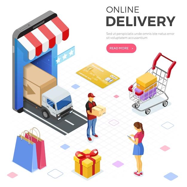 Internet shopping online-lieferung isometrische banner Premium Vektoren