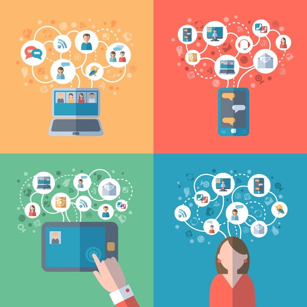 Internet und soziale netzwerke konzept Kostenlosen Vektoren