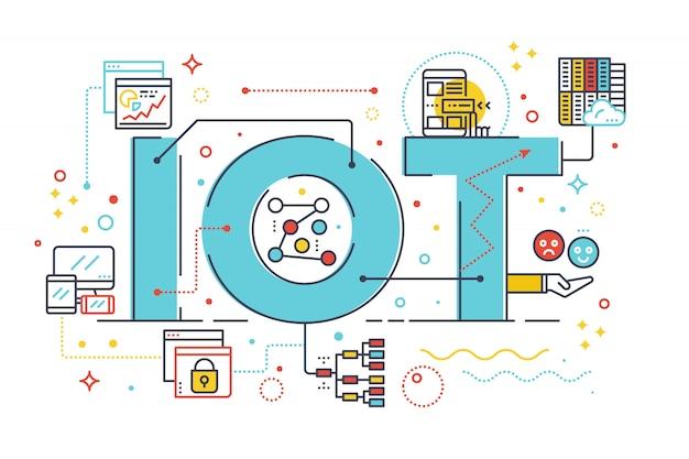 Internet von sachen, internet-computertechnologiekonzeptwort-briefgestaltung illustratio Premium Vektoren