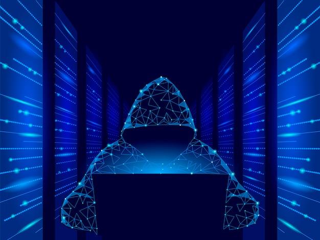 Internetsicherheits-cyberangriffs-geschäftskonzept niedrig poly. anonymer hacker am laptop Premium Vektoren