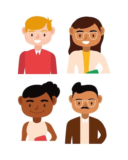 Interracial lehrer teamarbeiter zeichen vektor-illustration design Premium Vektoren