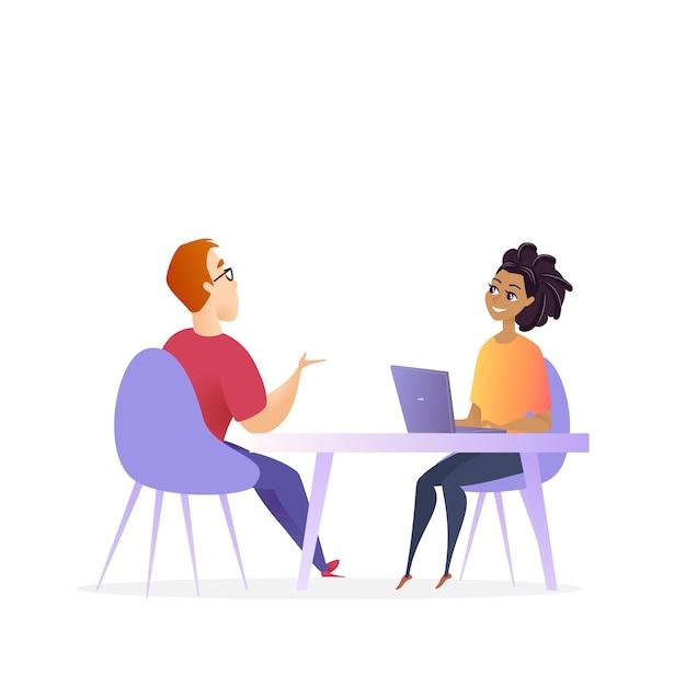 Interview mit dem vorstellungsgespräch Premium Vektoren