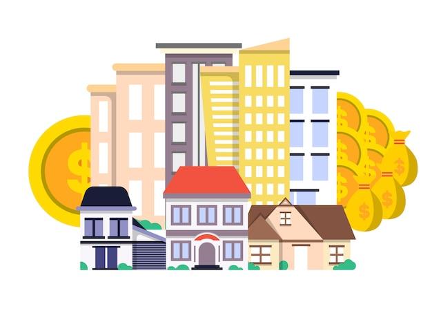 Investition in immobilienkonzept in flaches design Premium Vektoren