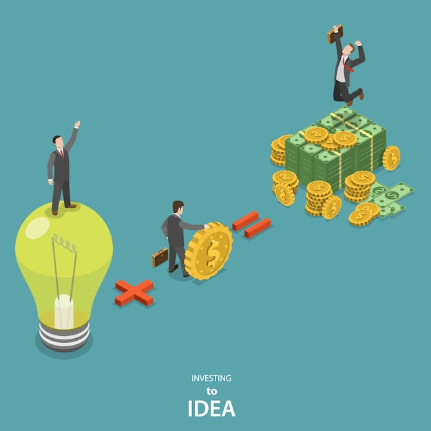 Investition in isometrisches flaches vektorkonzept der idee. Premium Vektoren