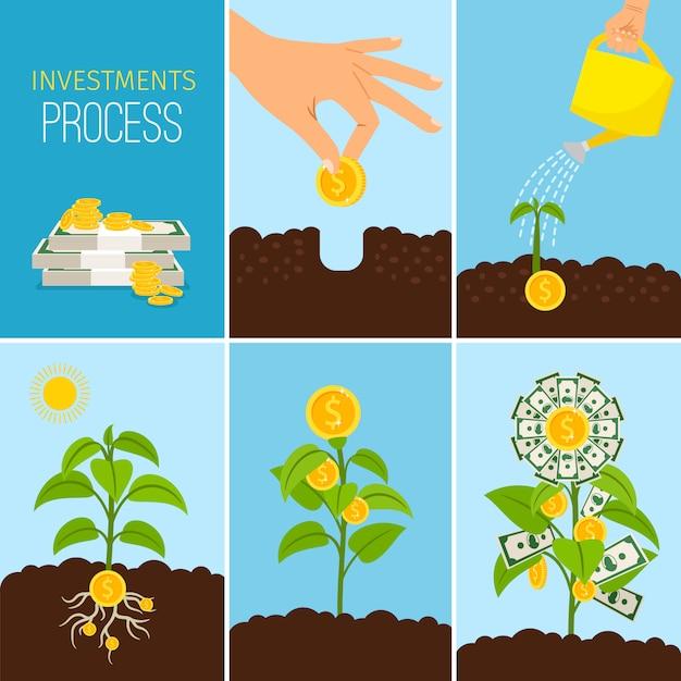 Investitions-prozess und finanzgeschäftswachstumskonzept Premium Vektoren