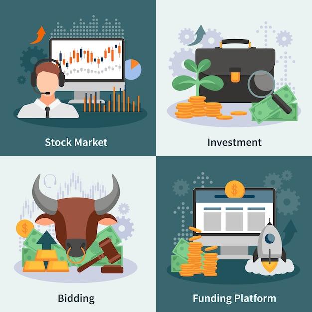 Investitions- und handelskonzept des entwurfes mit dem makler, der flache vektorillustration der marktrate-risikokapitalbilder anbietet Kostenlosen Vektoren