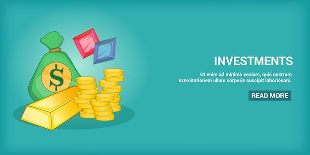 Investitionsfahne horizontal, karikaturart Premium Vektoren