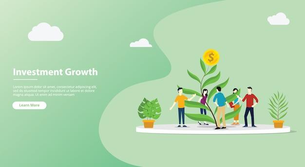 Investitionswebsite-schablonenseite des teams wachsende Premium Vektoren
