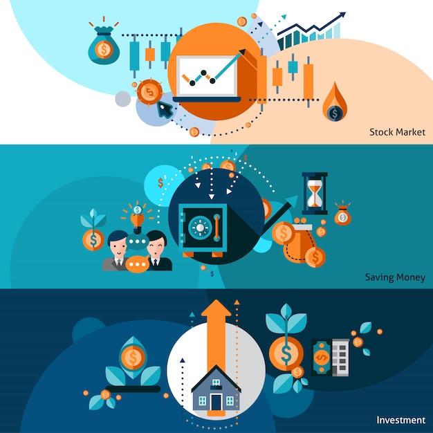 Investment-banner-set Kostenlosen Vektoren