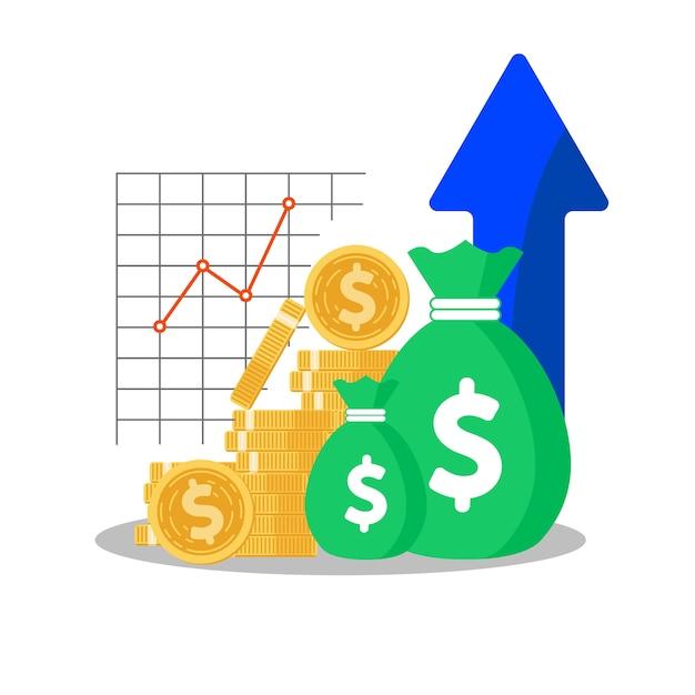 Investmentfonds, einkommenssteigerung Premium Vektoren