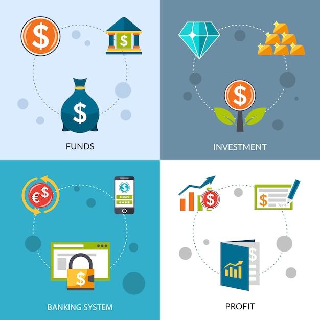 Investmentfonds-gewinn-ikonen eingestellt Kostenlosen Vektoren
