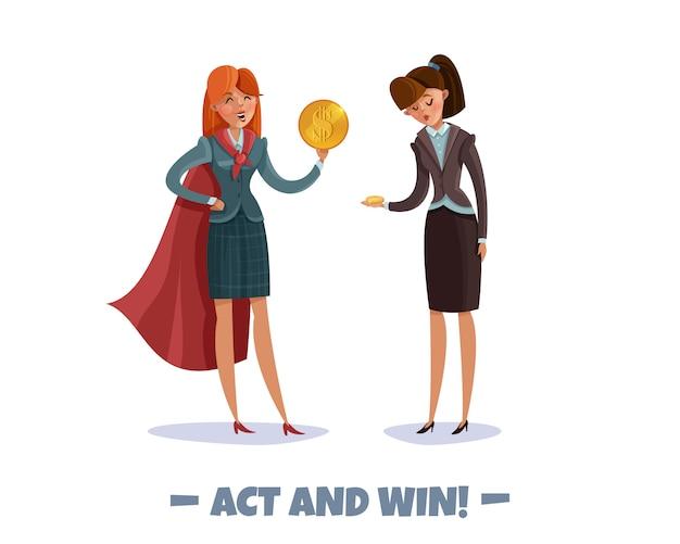 Investor business gewinner verlierer zeichen frauen mit text und doodle-stil bilder von geschäftsfrauen in kostümen Kostenlosen Vektoren