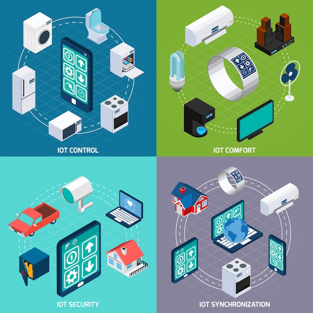 Iot 4 isometrische quadratische fahne der ikonen Kostenlosen Vektoren