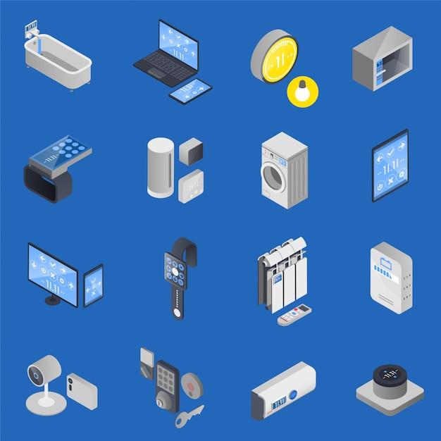 Iot internet der dinge isometrische icon set Kostenlosen Vektoren