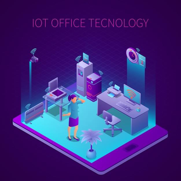 Iot-technologie bei isometrischer zusammensetzung des büroarbeitsplatzes auf bildschirmvektorillustration des mobilen geräts Kostenlosen Vektoren
