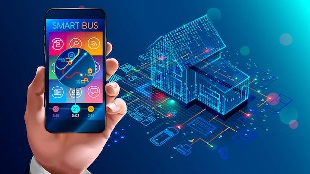 Iot-technologie in der hausautomation, smart home Premium Vektoren