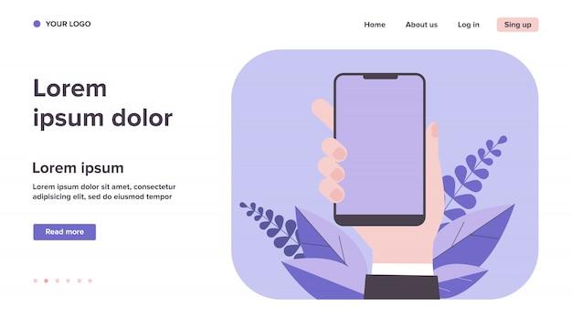Iphone in der hand abbildung Premium Vektoren