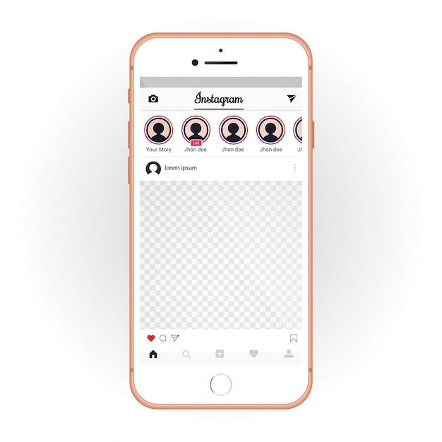 IPhone mit dem mobilen UI-Kit Instagram. Smartphone-Modell und Chat-App Kostenlose Vektoren
