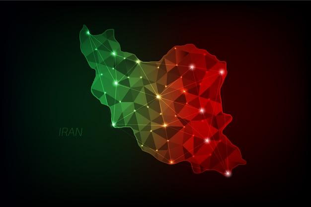 Iran karte polygonal mit leuchtenden lichtern und linie Premium Vektoren