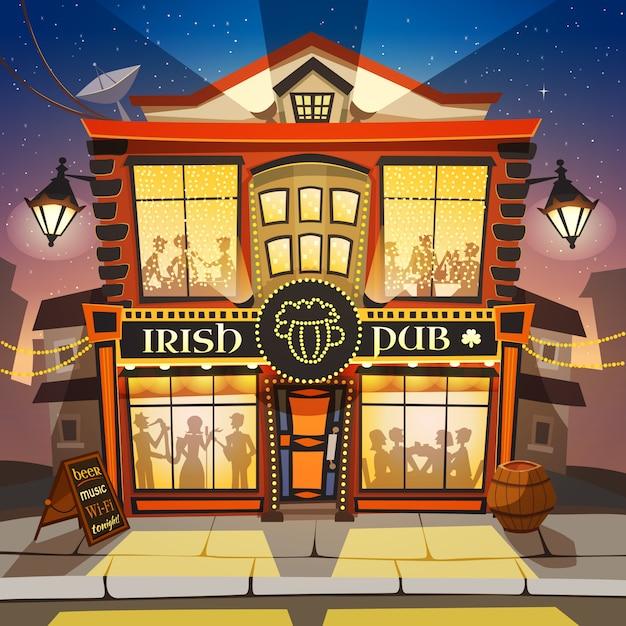 Irische pub-karikatur-illustration Kostenlosen Vektoren
