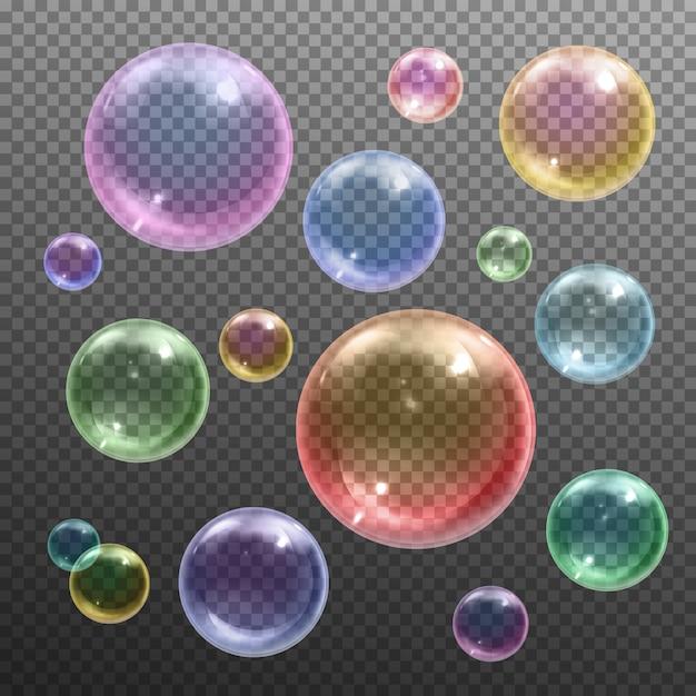 Irisierende farbige glänzende runde seifenblasen verschiedener größen, die gegen das dunkle transparente realistische schwimmen Kostenlosen Vektoren
