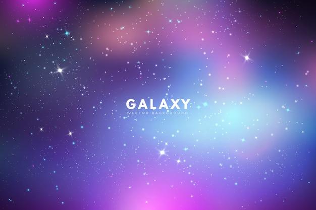 Irisierender galaxiehintergrund mit sternen Kostenlosen Vektoren
