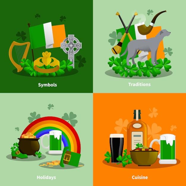 Irland 2x2 flache reihe von küche traditionen simbols urlaub dekorative kompositionen Kostenlosen Vektoren
