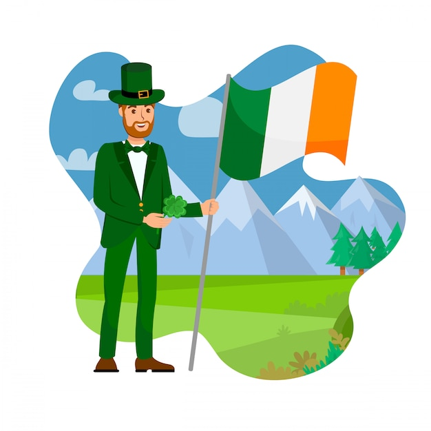 Irland bürger mit nationalflagge illustration Premium Vektoren