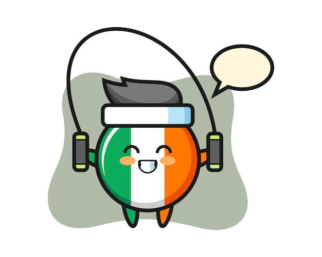 Irland flaggenabzeichen charakter cartoon mit springseil Premium Vektoren
