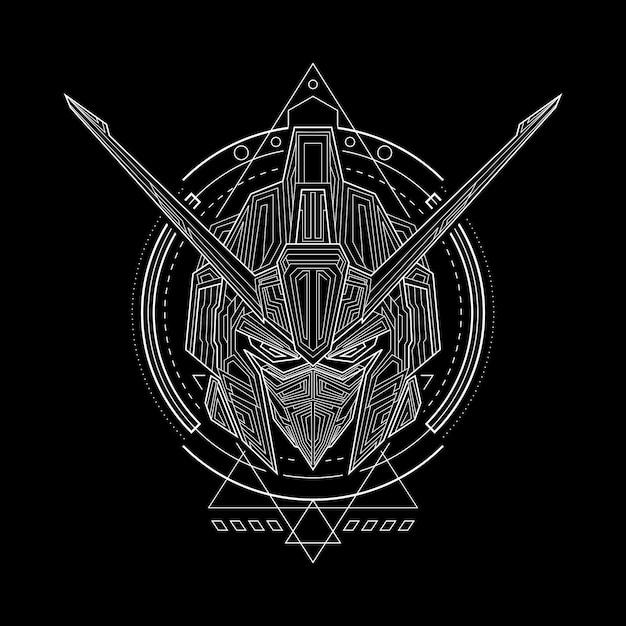 Iron warrior geometry style Premium Vektoren