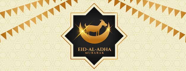 Islamische bakra eid al adha festival banner design Kostenlosen Vektoren