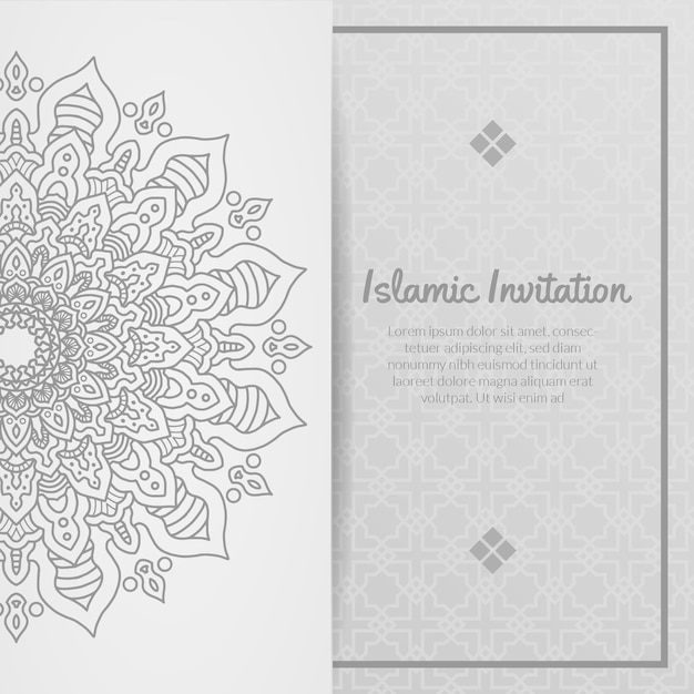 Islamische einladung, ramadhan kareem, eid al adha, eid al fitri, ornamental Premium Vektoren