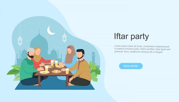 Islamische familie iftar isst nach dem fasten im ramadan Premium Vektoren