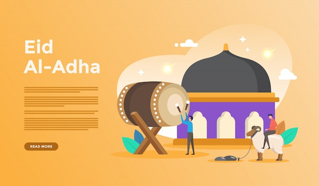 Islamische flache designillustration für glückliches eid fitr oder adha mubarak und ramadan kareem mit leutecharakterkonzept für netzlandungsseitenschablone Premium Vektoren
