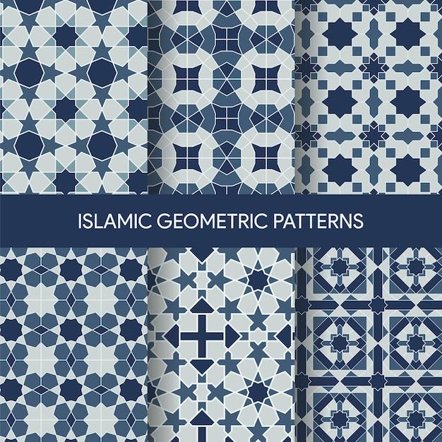 Islamische geometrische nahtlose muster-beschaffenheits-sammlung Premium Vektoren