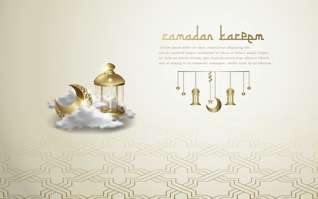 Islamische gruß ramadan kareem-tapete Premium Vektoren