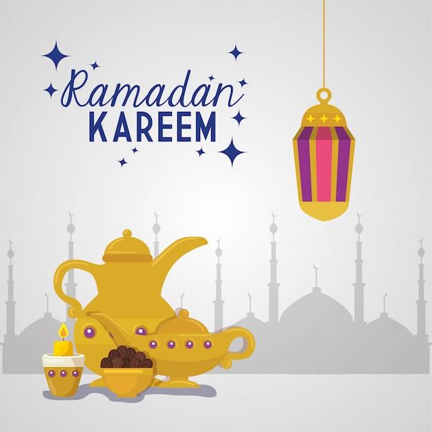 Islamische karte ramadan kareem, goldene laternen, die mit goldener objektillustration hängen Premium Vektoren