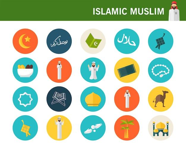 Islamische muslimische consept flache ikonen. Premium Vektoren
