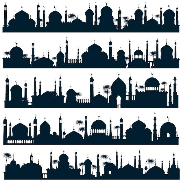 Islamische skylines der stadt Premium Vektoren