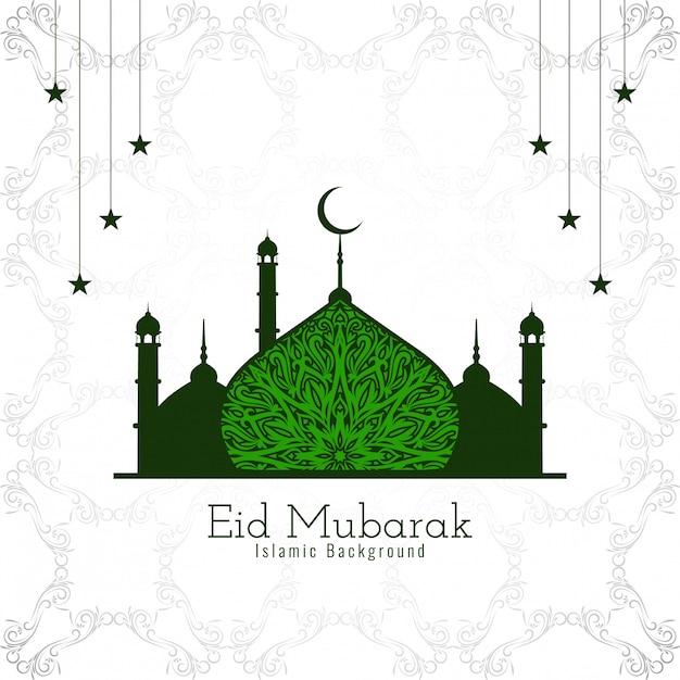 Islamischer entwurf eid mubaraks mit schöner grüner moschee Kostenlosen Vektoren