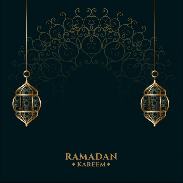 Islamischer goldener laternenhintergrund des ramadan kareem Kostenlosen Vektoren