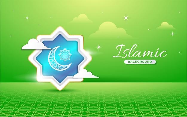 Islamischer hintergrund im papierstil Premium Vektoren