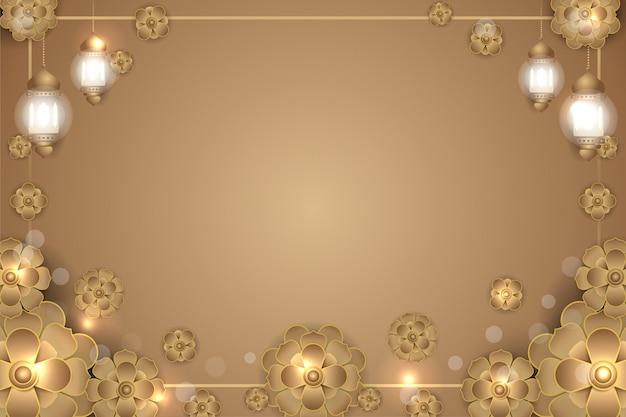 Islamischer mandalablumen-goldhintergrund Premium Vektoren