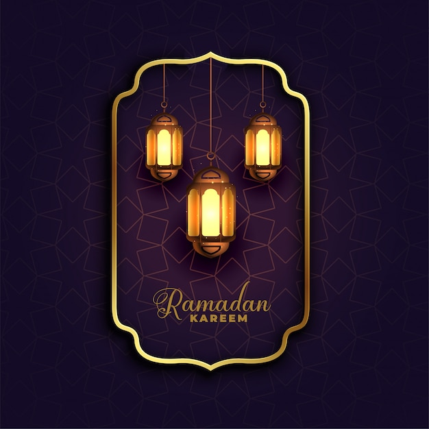 Islamischer ramadan-kareem hintergrund mit lampen Kostenlosen Vektoren