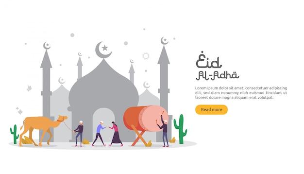 Islamisches designillustrationskonzept für glückliches eid al-adha oder opferfeierereignis Premium Vektoren