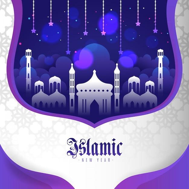 Islamisches neujahr im papierstil Premium Vektoren