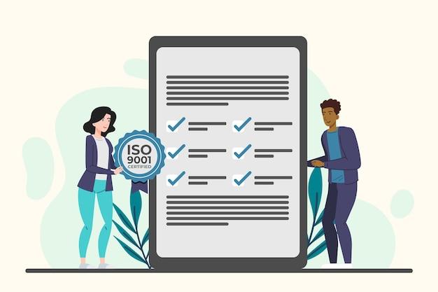 Iso 9001 zertifizierung mit blättern Kostenlosen Vektoren