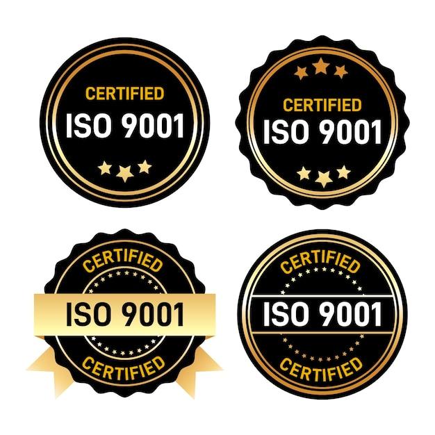 Iso-zertifizierungsstempelset Kostenlosen Vektoren