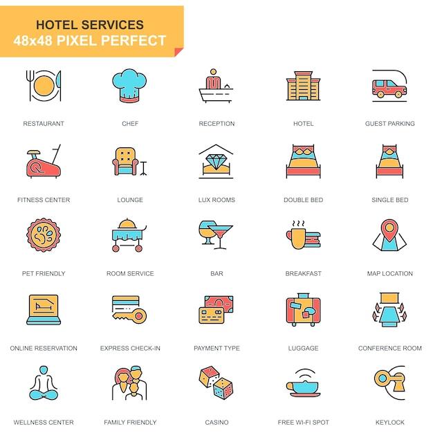 Isoelektrisches hotel dienstleistungen symbole festgelegt Premium Vektoren