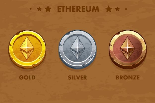 Isolierte alte münzen aus gold, silber und bronze. digitale oder virtuelle kryptowährung. münze und elektronisches geld Premium Vektoren